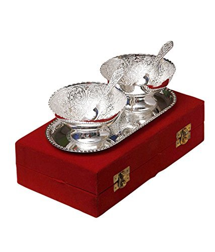 Odishabazaar Silver Plated Brass Bowl with Tray -...