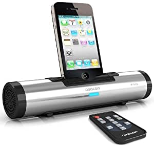 AZATOM® iFLUTE Silver 10W iPhone Docking Station - True stereo dual speakers - Remote control - Premiun portable sound
