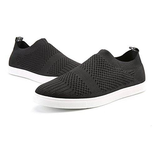 Mocassin homme mesh respirant textile sportif chaussure simple basket mode basses Noir