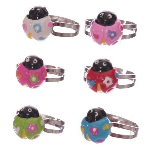 Cute Colourful Ladybug Adjustable Ring