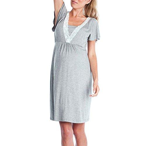 Kololy pigiama premaman cotone, camicia da notte premaman allattamento, vestiti premaman donna estivo maniche corte con scollo v casual pigiami per casa (grigio scuro,xl)