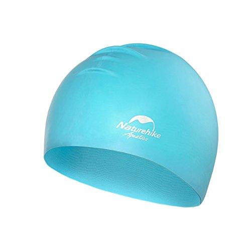 Tentock Erwachsene Chlor-resistente Badekappe Hochelastische Silikon Wasserdichte Schwimmen Hut für Männer Frauen(Blau)