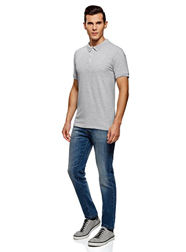 oodji Ultra Herren Tagless Pique-Poloshirt (2er-Pack) Grau (2300M)