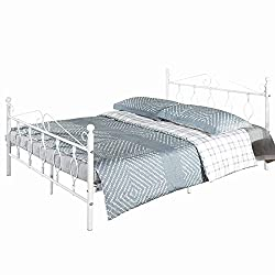 Aingoo 4ft 6 Metal Double Bed Frame with Vintage Headboard and Footboard Solid Bedstead Base with Large Storage Space White