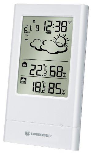 Bresser Funkwetterstation TempTrend mit Zeit und Datumsanzeige, Wettertrendanzeige, Außen-/Innentemperatur und Luftfeuchtigkeitsanzeige inklusive Außensensor, weiß