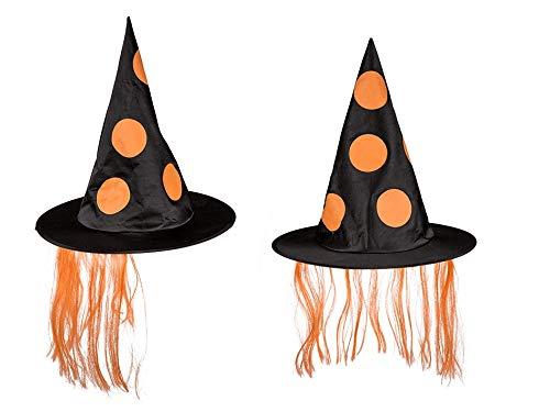 Preis am Stiel Halloween ''Hexenhut'' mit orangem Kunsthaar | Zauberhut | Kostüm Zubehör | Fasching | Karneval | Hexen (Erwachsene Mystische Hexe Kostüme)