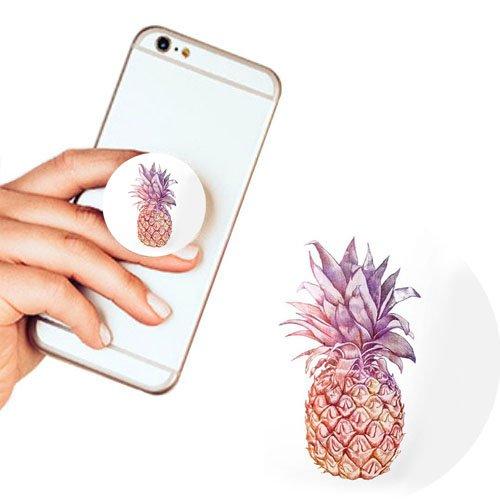 Pop Phone Grip ausziehbarer Ständer Multifunktionaler Smartphone-Halter Universal Telefon Finger hands Socket Halterung - Ananas(Weiß) (Lila Eule Iphone 5 Fall)