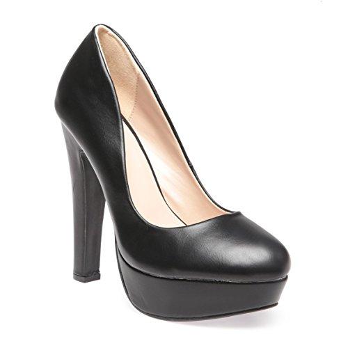 La Modeuse - Escarpins femme aspect simili cuir Noir