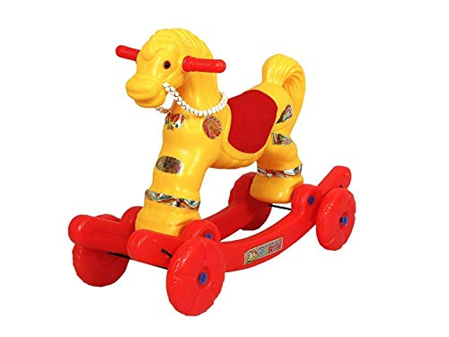 Indian Horse Rider for Kids Baby Horse Ride Toddler Ride on Baby(Yellow and Red ) Sold by Indian Gift Gallery