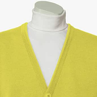 "Classic Men's Cardigan - Lemon (Sizes: Small to 4XLarge) (3XLarge (50"" - 52"" Chest))"