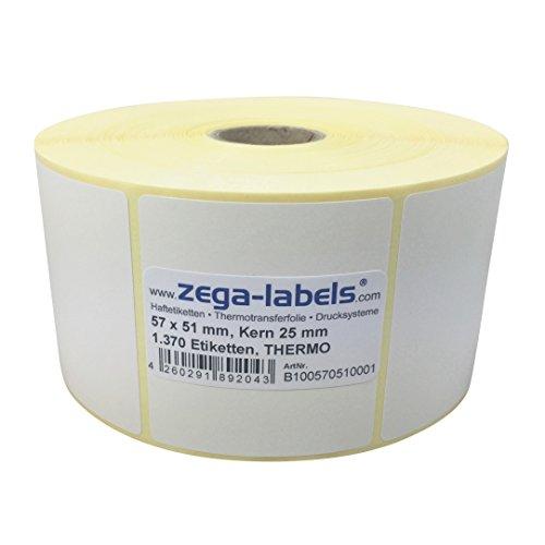 Thermo Etiketten auf Rolle - 57 x 51 mm - 1.370 Stück je Rolle - Kern: 25 mm - aussen gewickelt - permanent haftend - Druckverfahren: Thermodirekt (Drucken ohne Farbband) -