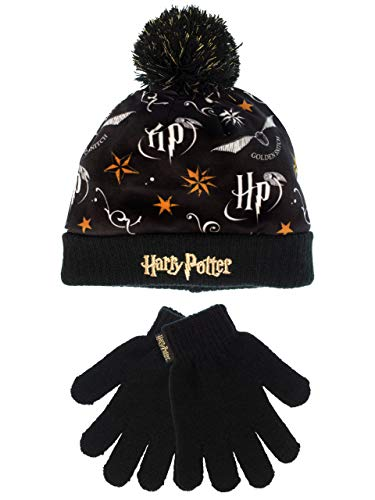 41HzvQt8teL - Harry Potter - Conjunto de gorro y guantes para niña - Un tamaño