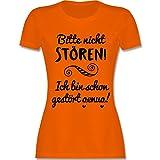 Sprüche - Bitte Nicht stören! - S - Orange - L191 - Damen T-Shirt Rundhals