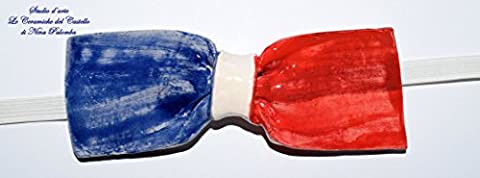 Fliege Keramik Flag Linie Frankreich Piece Unique Hergestellt und von Hand bemalt Le Ceramiche del Castello Made in Italy Maße: 10,5 x 5 (Frankreich Kostüm Für Jungen)