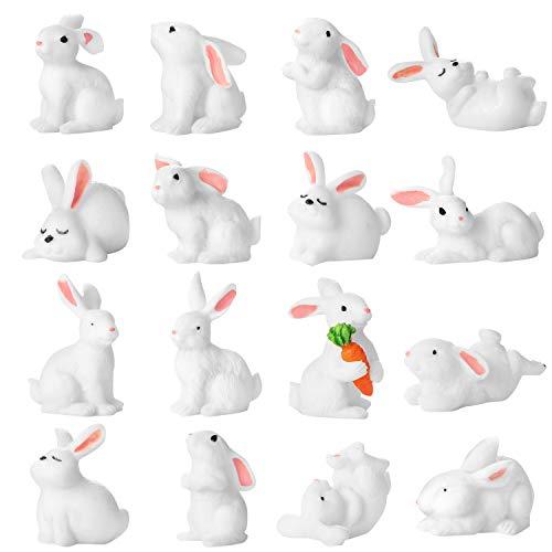 Chinco 16 Stücke Süß Tier Mini Figuren Spielset Mini Kuchen Topper Dekoration Handwerk für Kinder Party Gefälligkeiten Spaß Büro Haus Dekor (Hasen Figuren) (Kuchen Toppers Kinder)