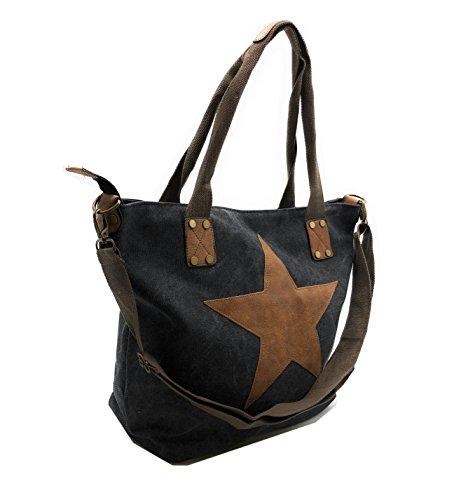 JillyMode hochwertige Damen Handtasche XL mit Stern aus Canvas mit Schulterriemen (H118-1213-Schwarz)