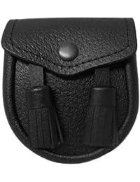 Sporran de kilt en cuir veiné pour bébé - 2 pompons - ceinture incluse - Bébé