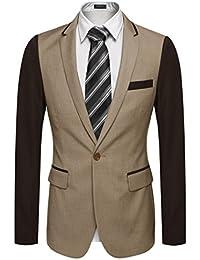 CRAVOG Mode Homme Veste De Costume Manche Longue Avec Un Bouton Col Revers  Patchwork Blazer Jacket f34464a37d7