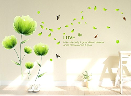 ufengke® Schöne Grüne Blumen Wandsticker, Wohnzimmer Schlafzimmer Entfernbare Wandtattoos Wandbilder