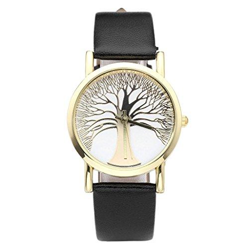 JSDDE Uhren,Damenmode Gold Baum des Lebens Muster Armbanduhr Damenuhr Faux Lederarmband Analog Quarzuhr,Schwarz