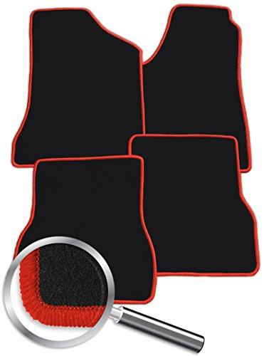 Fussmatten-Deluxe 000_11134 Radkappen-Set 4-teilig + Passgenaue Velours-Fußmatten Schwarz und Rand in Rot - Fahrzeugtyp in der Artikelbeschreibung beachten!