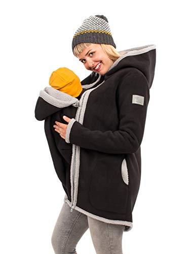 Viva la Mama I Umstandsjacke Winter warme Tragejacke für Mama + Baby Winterjacke mit Einsatz I Arctica schwarz-grau - L