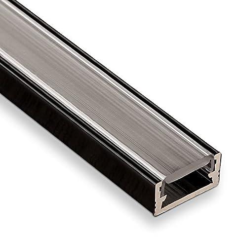 SO-TECH® LED Profil-11 Schwarz Aufbauprofil 2000 x 14 x 7 mm mit klarer Abdeckung