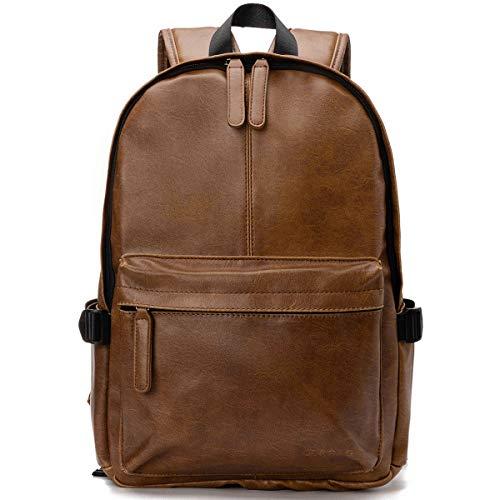 OB OURBAG Unisex Rucksack, PU Leder Rucksäcke Herren Damen Elegant Schulrucksäcke für Manner Teenager Schultasche Büchertasche Schultertasche für Reise Einkaufen Wandern (Dunkelbraun)