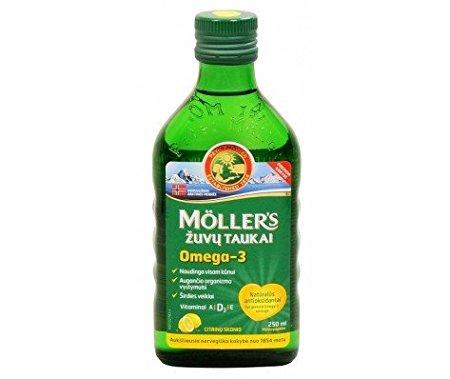 Möller's - Aceite de hígado de bacalao con omega 3 con sabor a limón - Para niños y adultos