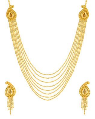 Voylla Ethnic Gold Plated Beaded Necklace Set  available at amazon for Rs.443