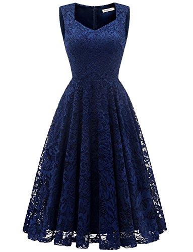GardenWed Damen Elegant Spitzenkleid Strech Herzform Abendkleid Cocktailkleider Partykleider Navy S