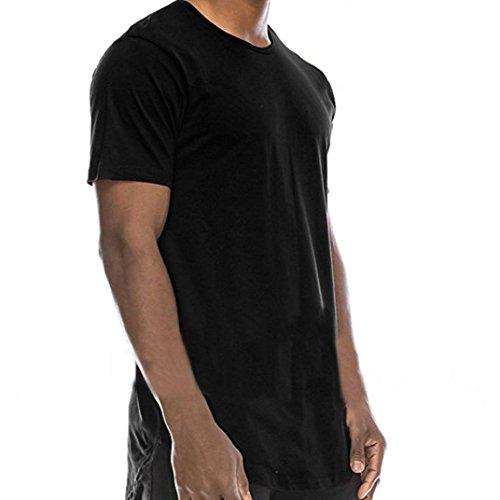 T-shirt da uomo _ feixiang uomo crew collo hip hop teeshirt camicia camicetta sportivo polo tee camicie camicetta maglia a manica corta maglione felpe hoodie tops pullover (nero, eu l)
