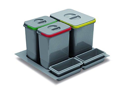 SO-TECH® MULTINO 1 x 15L + 2 x 7L Abfalltrennsystem Abfallsammler Mülleimer Abfalleimer genau passend für Blum-Tandembox und Modern-Box Schubkästen -