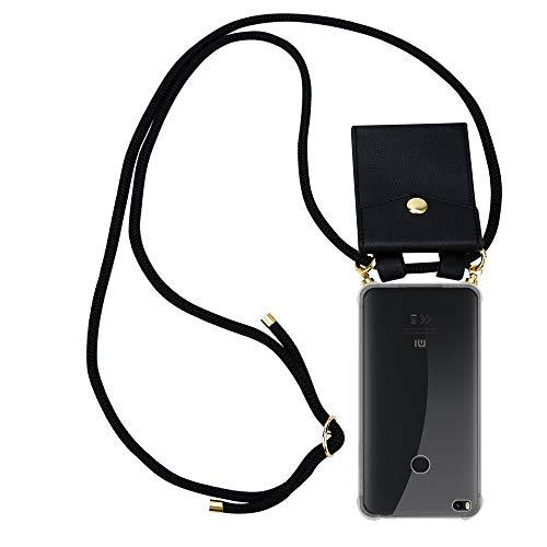 Cadorabo Funda con Cuerda para Xiaomi Mi MAX 2 en Negro - Cubierta Protección Collar para Colgar di TPU Silicona Transparente con Anillos OROS, Cordon y Estuche Removible