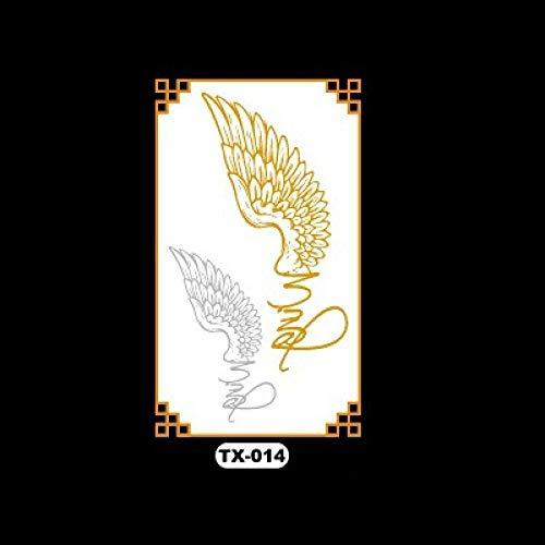 Wasserdichter Tattoo-Aufkleber Bronzing Flower Arm Metall 3D Tattoo-Aufkleber Wassertransfer-Aufkleber Einfach zu bedienen Geeignet für Urlaub am Meer, Festivals, Partys, Musikfestivals usw. @ TX (Engel Halloween Make-up Ideen)