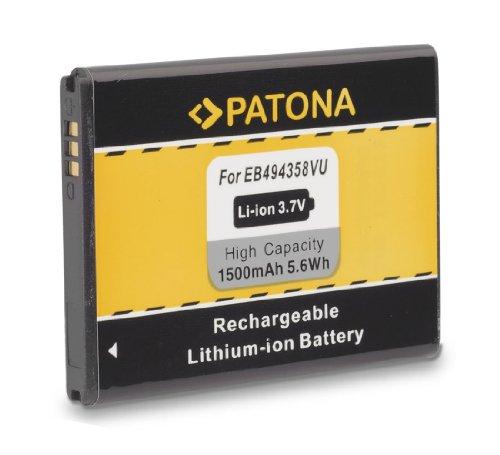 PATONA Batería EB 494358VU Para Samsung CC I569 I579 S5660 Galaxy Gio S5670 Fit S5830 Ace S5838 S6010 Music S6102 Y DuoS S6310 Young S6312 DuoS S6500 Mini 2 S6802 Ace DuoS S7250 Wave M S7500 Ace Plus