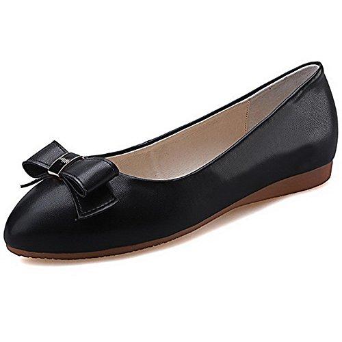 AgooLar Femme Tire à Talon Bas PU Cuir Mosaïque Rond Chaussures Légeres Noir