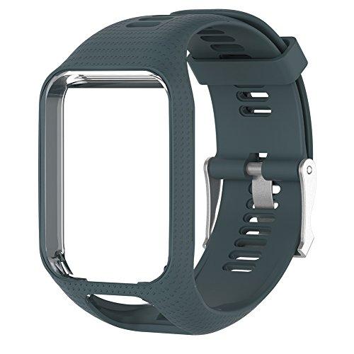 Ersatz Band für TomTom Runner 2/3Serie Watch Silikon Uhrenarmband, Cyan Blue