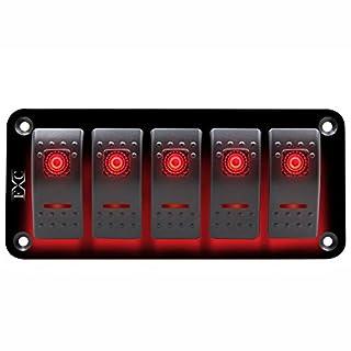 SODIAL 12V-24V 5 Gang red er Switch Panel Circuit Breaker Boat Marine Waterproof