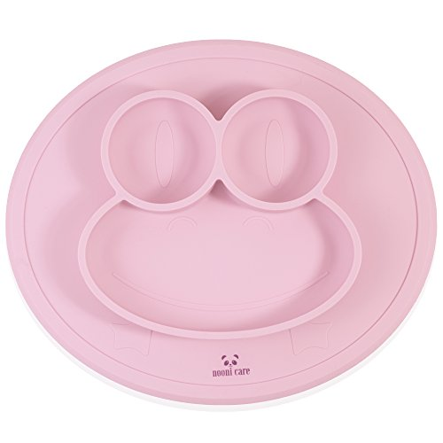nooni-care-kids-placemat-divided-suction-plate-food-grade-silicone-toddler-and-baby-plates-pink