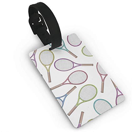 Gepäckanhänger mit Namensausweis Personalausweis Tennis Racquet Pattern Luggage Tag Business Card Holder for Men's Women's Golf Bags -