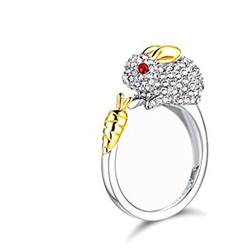 Wicemoon Bague Réglable Forme de Lapin avec Oxyde de Zirconium Simplicité des anneaux Anneau de la Queue,Fantaisie Bijoux Bague de Fiançailles Femme Alliance Mariage Anniversaire