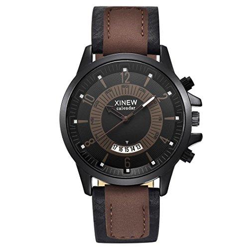 Longra Hommes Montres Vintage Montre à quartz Luxe L'horloge Hommes d'affaires Montre-bracelet imperméable à l'eau militaire numérique de l'armée de sport Digitale Analogique Montres (Café)