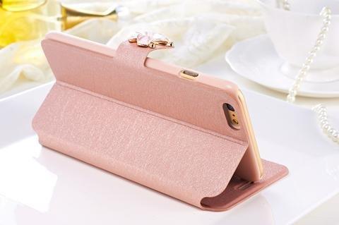 iPhone-7-Schutz-Case-Hülle-Tasche aufklappbar mit Schmetterling verziert Fuchsia