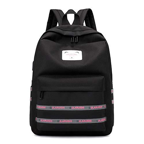 (Masteer Schultasche einfache Mode lässig Reisetasche große kapazität schüler Rucksack College Style - schwarz)