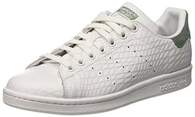 adidas Stan Smith W, Sneaker a Collo Basso Donna, Bianco (Footwear White/Footwear White/Trace Green), 41 1/3 EU