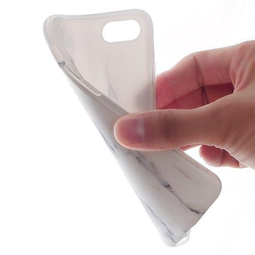 Cover iphone 7 Custodia iphone 8 Marmo Leton TPU Silicone Case Cover per Apple iphone 7 / 8 (4.7 pollici) Morbido Trasparente Flessibile Gel Copertura Shell Ultra Sottile Leggera Design Bianco Marmo M Bianco Nero