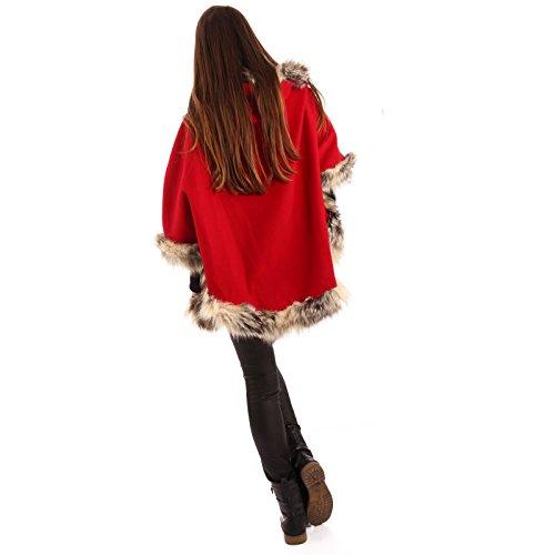 Damen Cape Poncho Capemantel mit Kunstfellbesatz Rot