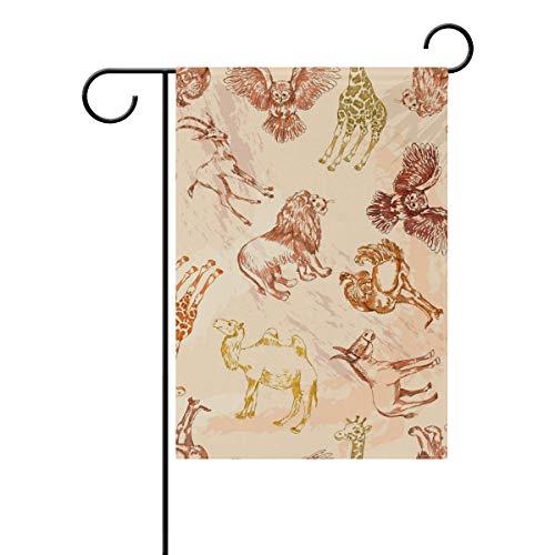 FANTAZIO Drapeau de Jardin Animaux du désert Lion Girafe Camel Hibou Double Face, Polyester, 1, 28x40(in)