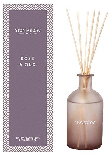 Stoneglow Glas Geometrische Rose und Oud Reed Diffusor, Mehrfarbig, 25x 8x 8cm - Glas-reed-duft-diffusor